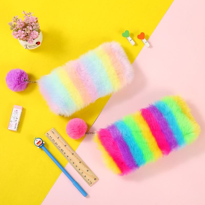Arco Iris Escuela de peluche caja de lápiz para las niñas bolso cosmético bonito bolsa de papelería bolsa de caja de regalo de los niños suministros de oficina zakka