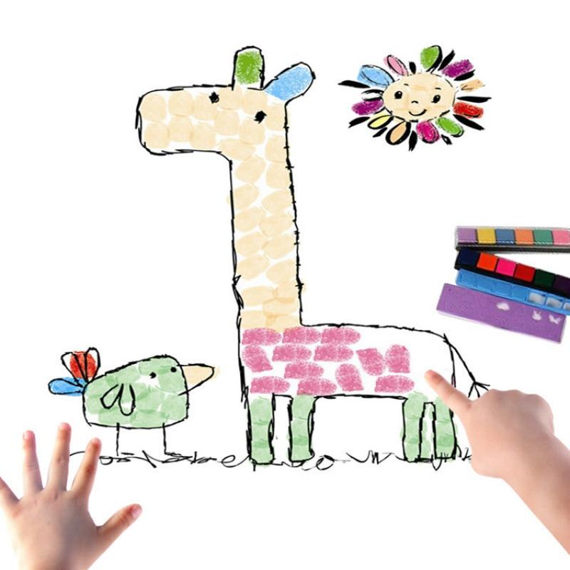8 patrones/juego de imágenes de pintura de dedos DIY para niños, Juguetes Educativos de aprendizaje para niños con dibujo de pintura de dedos coloridos