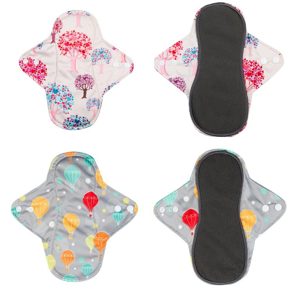 50pcs Ladies Washable Menstrual Pads +50pcs Microfiber Inserts Absorbents Reusable Bamboo Charcoal Sanitary Napkin Day &Night