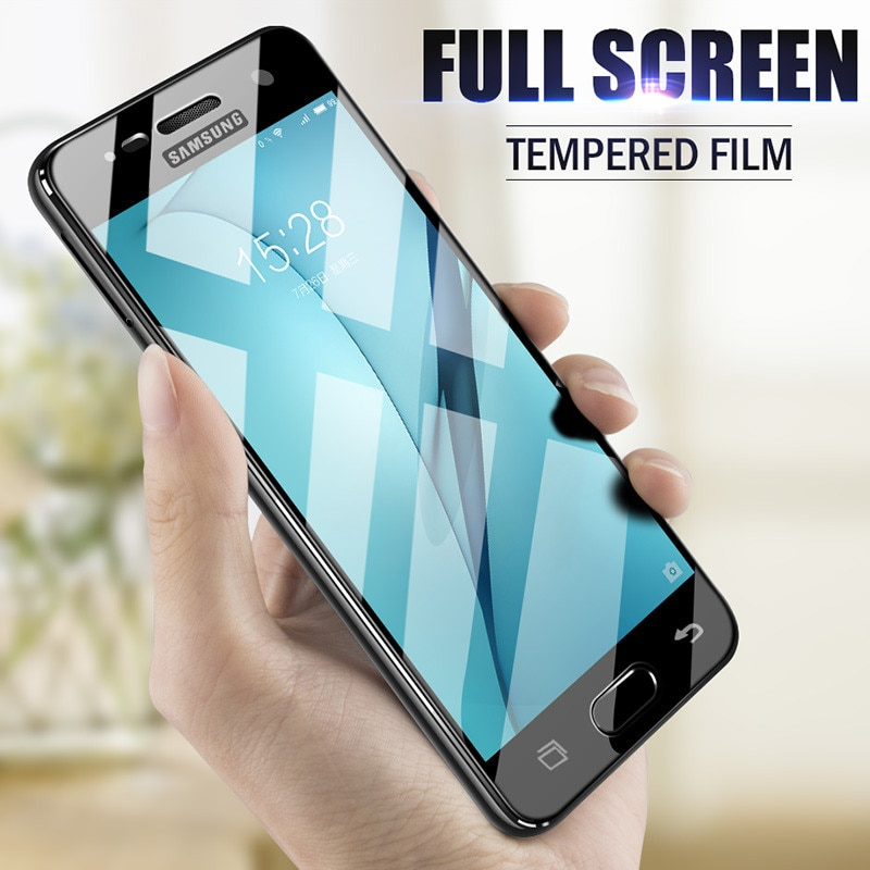 Completa Tampa de Vidro Temperado Para Samsung Galaxy A3 A5 A7 2017 A8 A6 Plus 2018 A3 A5 A7 Protetor de Tela para Samsung A8 A6 Vidro
