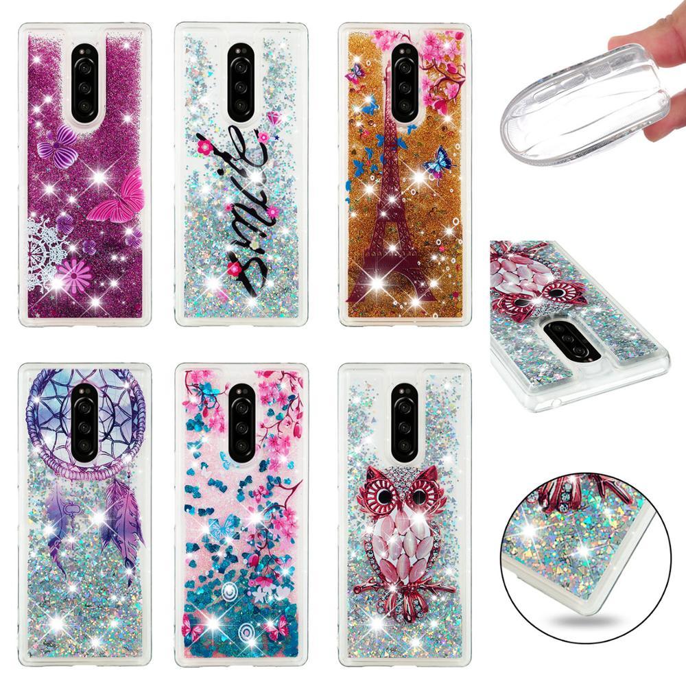 Para Sony Xperia 1 10 Plus L1 L2 L3 XZ1 XZ2 XZ3 compacto XA1 XA2 Ultra suave de la caja del teléfono del dinámica cubierta completa de arena movediza líquida brillante