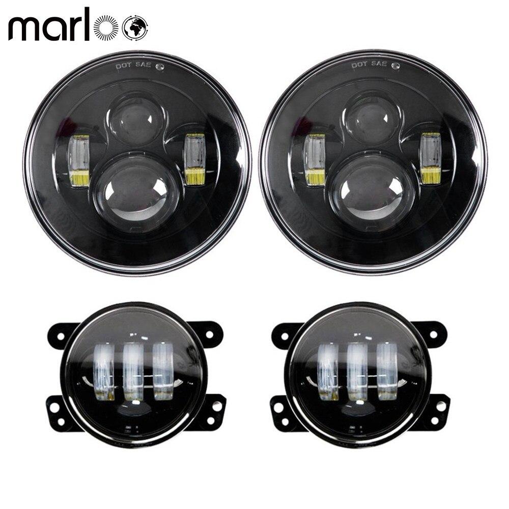 """2 pces 7 """"farol com 4 polegadas led luzes de nevoeiro apto para jeep wrangler unlimited jk 2 / 4 porta 2007-2018 luz amortecedor dianteiro conjunto"""