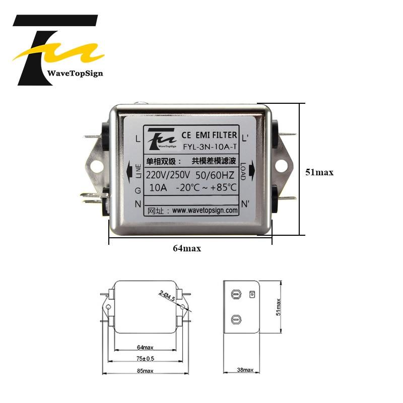 WaveTopSign Insert - chip filter FYL-3N-T series Current 6A 10A 20A Voltage 250V enlarge
