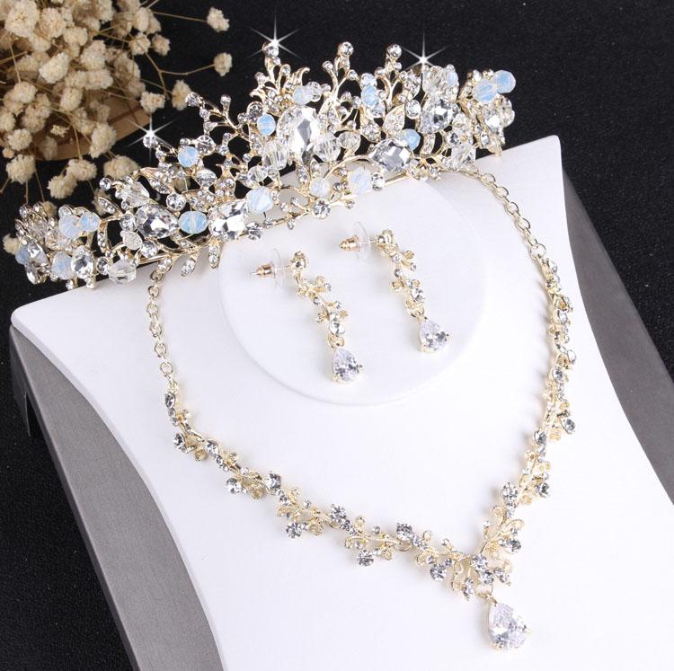 Барокко благородный Кристалл Свадебный комплект ювелирных изделий винтажная Золотая модная свадебная Ювелирная Тиара ожерелье серьги для...