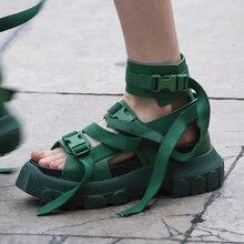 Sandales hautes femmes 2019 chaussures dété en cuir véritable sandales à plate-forme compensée à boucle décontractée pour femme