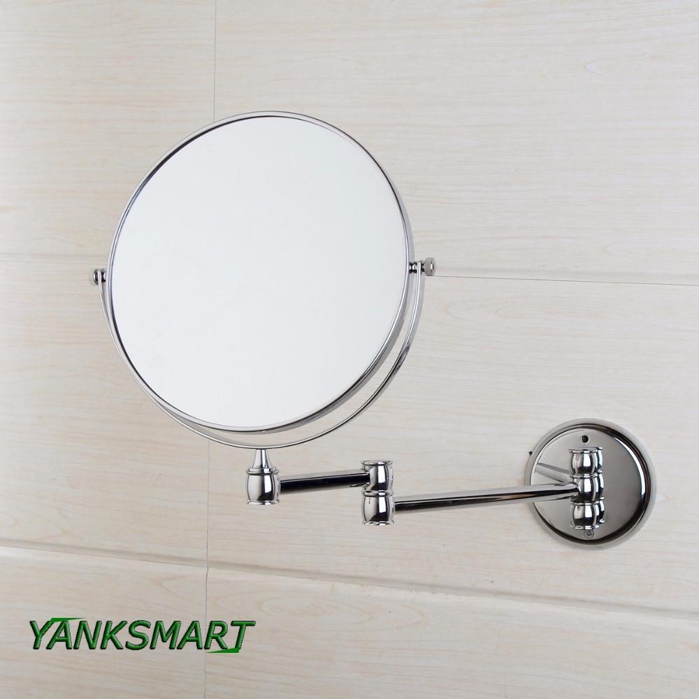 YANKSMART-مرآة مستديرة من الكروم على الوجهين ، مرآة حائط قابلة للطي مقاس 8 بوصات مع تكبير 3X للحمام