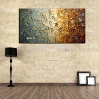 hand painted texture golden flower tree abstract modern wall art gold oil painting canvas picture wall decor for home decoration