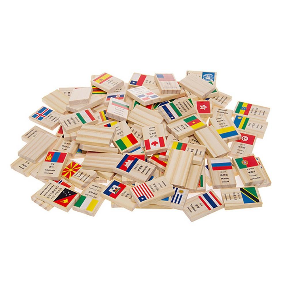 100 unids/lote placa de madera juguetes juego temprano aprendizaje cognitivo de madera dominó solitario Juguetes educativos de Aprendizaje Temprano