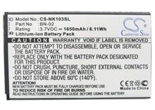 Cameron Sino 1650mAh Battery BN-02 for  Nokia  Nokia XL, RM-1030, RM-1042, XL Dual SIM