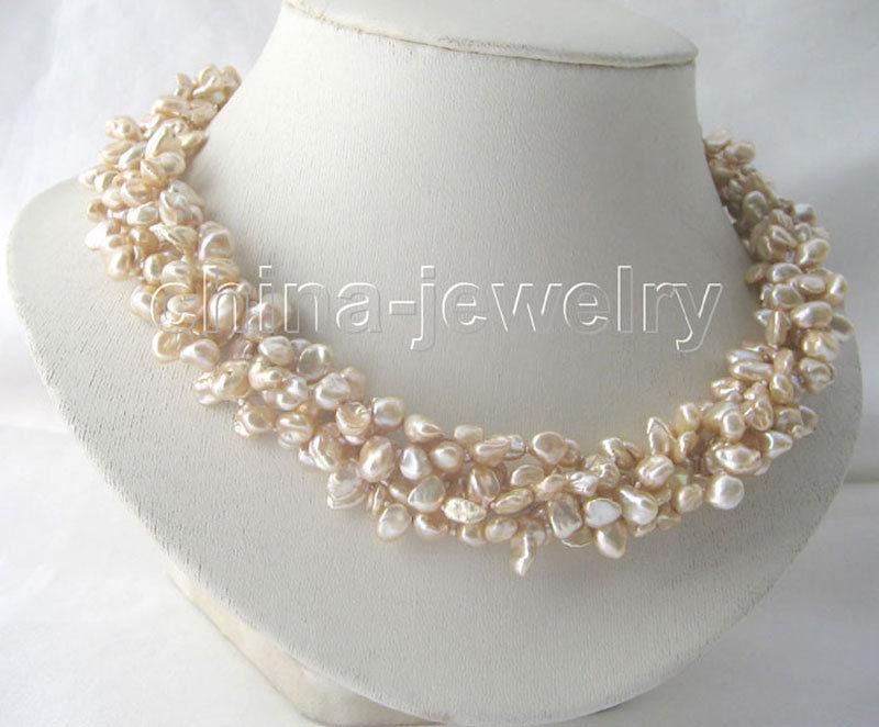 "18 ""5row champagne Reborn perla de agua dulce Keshi collar-imán GP"