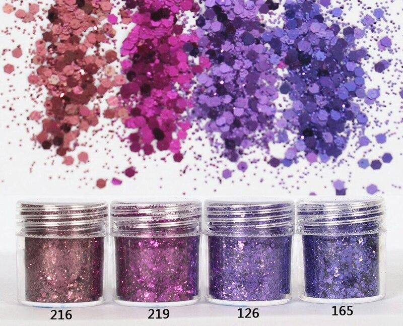 Сверкающие блестки фиолетового цвета серии 4X, 10 мл для самостоятельного изготовления ювелирных изделий, блестящий порошок для дизайна ногт...