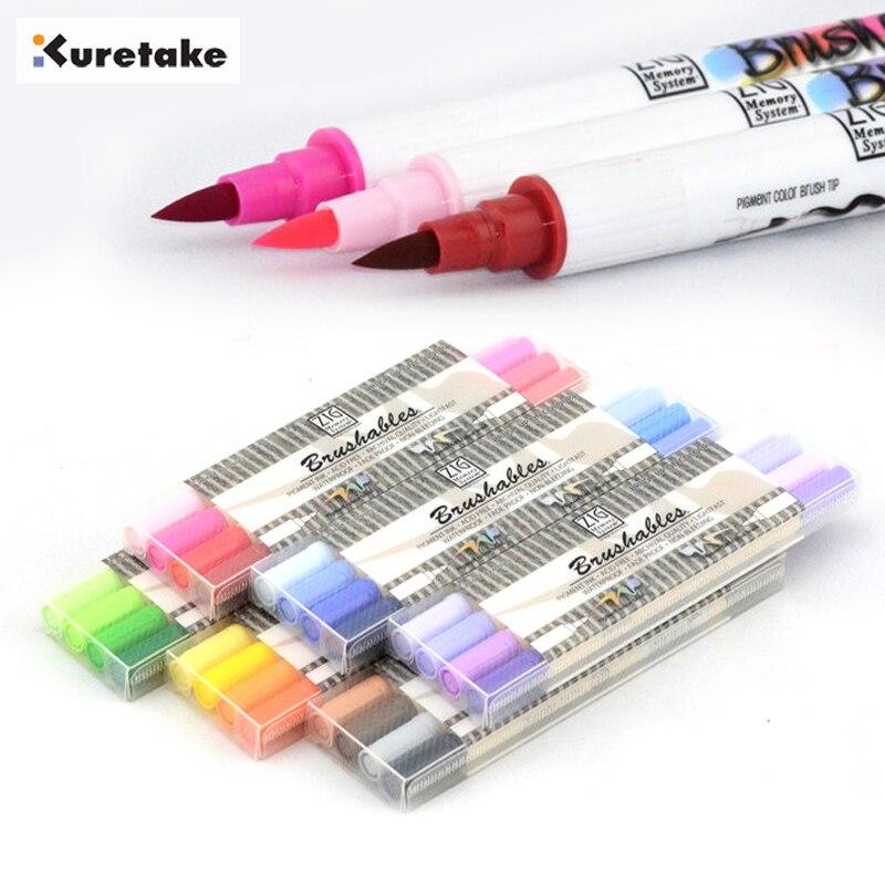 Sistema de memoria Kuretake MS-7700 MS7700 Zig, juego de marcadores artísticos de Color claro oscuro de doble cara
