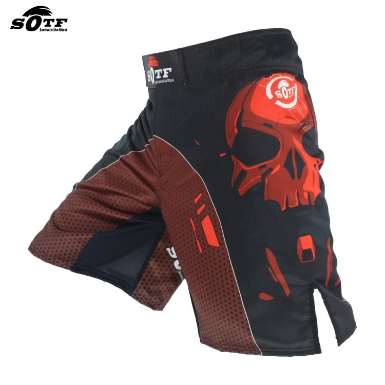 SOTF cráneo negro mecánico MMA lucha transpirable deportes Fitness pantalones cortos Tigre Muay Thai mma pantalones cortos ropa de boxeo