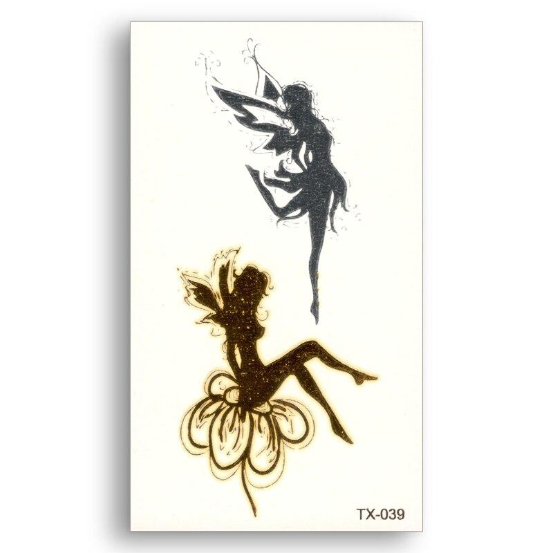Cute Flower Fairy angel Fake tattoo Metallic Gold Sliver Waterproof Temporary Stickers Water Transfer Body Art for kids