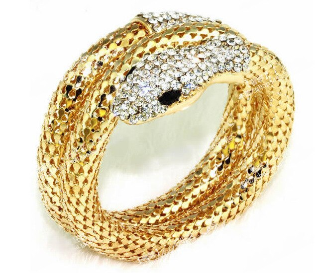 Brazalete de Serpiente, brazalete Serpiente con tono de oro y plata, pulsera de Serpiente exagerada con cristal