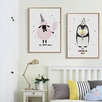 Toile dart imprimee avec Animal de dessin anime  doux et magnifique  affiche murale  decoration de maison  pour chambre de fille  A4 A3 A2  07G