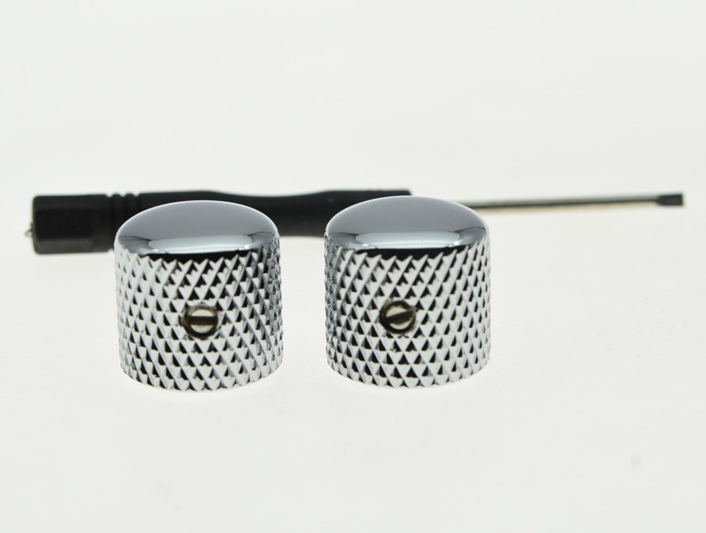 KAISH 2 шт. набор винтовых хромированных металлических гитарных купольных ручек для Tele Telecaster или регулятор басов