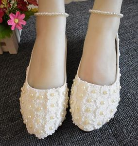 Bridal wedding shoes ankle beading strap handmade ivory lace pearls flats wedding shoe NQ136 bridesmaid shoe ready in stock