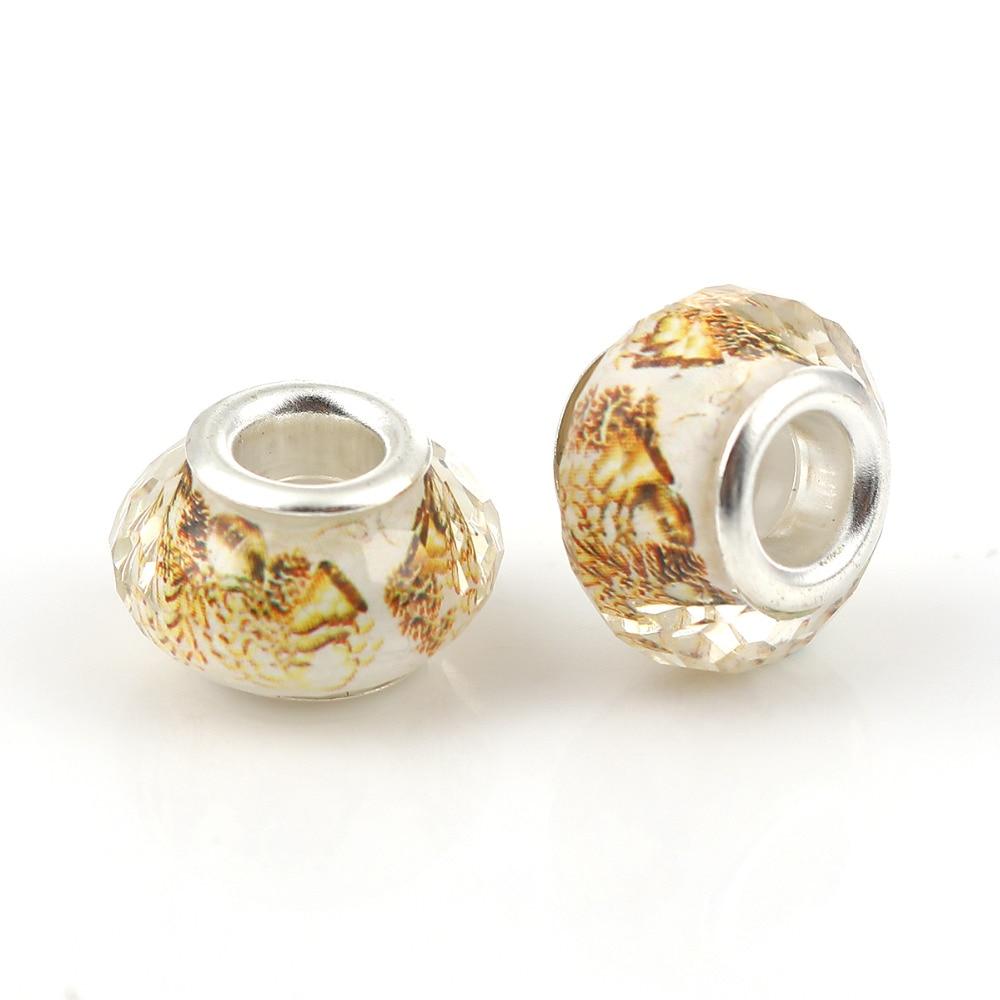 """8 estaciones de resina de estilo europeo de gran agujero encanto cuentas redondas mariposa de plata marrón facetado alrededor de 14mm (4/8 """") Dia, 20 Uds"""