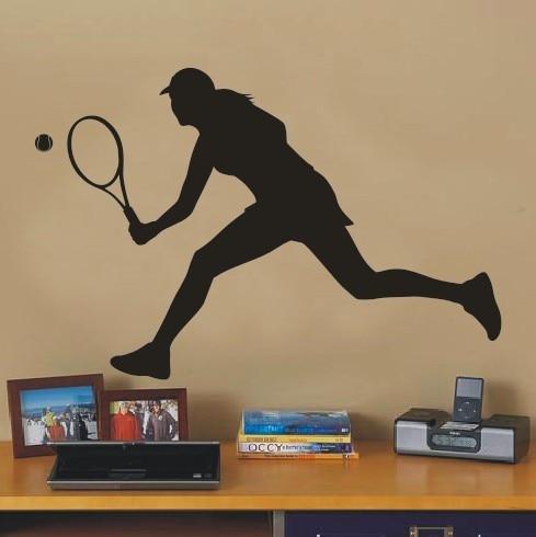 Autocollant Mural artistique Tennis pour filles   Étiquette murale de joueur de Tennis Sport, autocollant Mural Sitcker salle de Fitness, décoration de maison chambre de filles