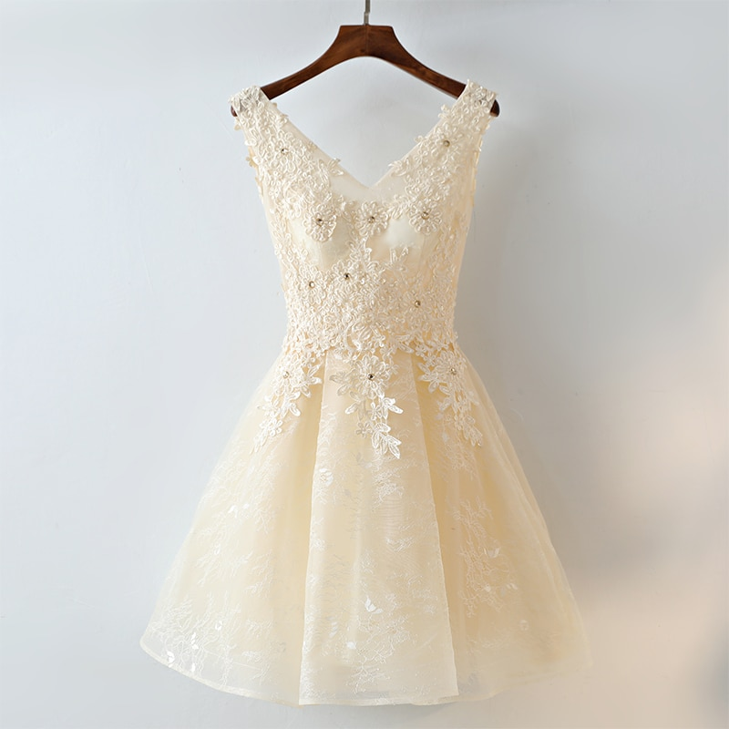 Ball Gown Sleeveless V-neck Champange Above-Knee Short kurti for women Dress For Wedding Party Bridesmaids Long Dresses