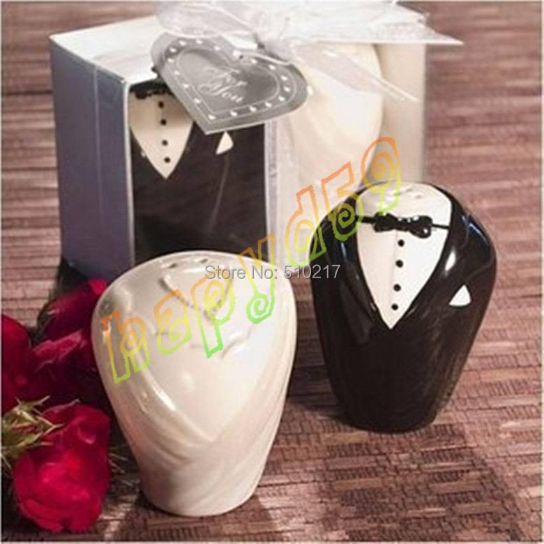 60 conjunto de casamento do presente da festa de casamento favores do casamento vestido de casal de porcelana vasilha vasilha de cerâmica sal pimenta shakers prêmios do jogo