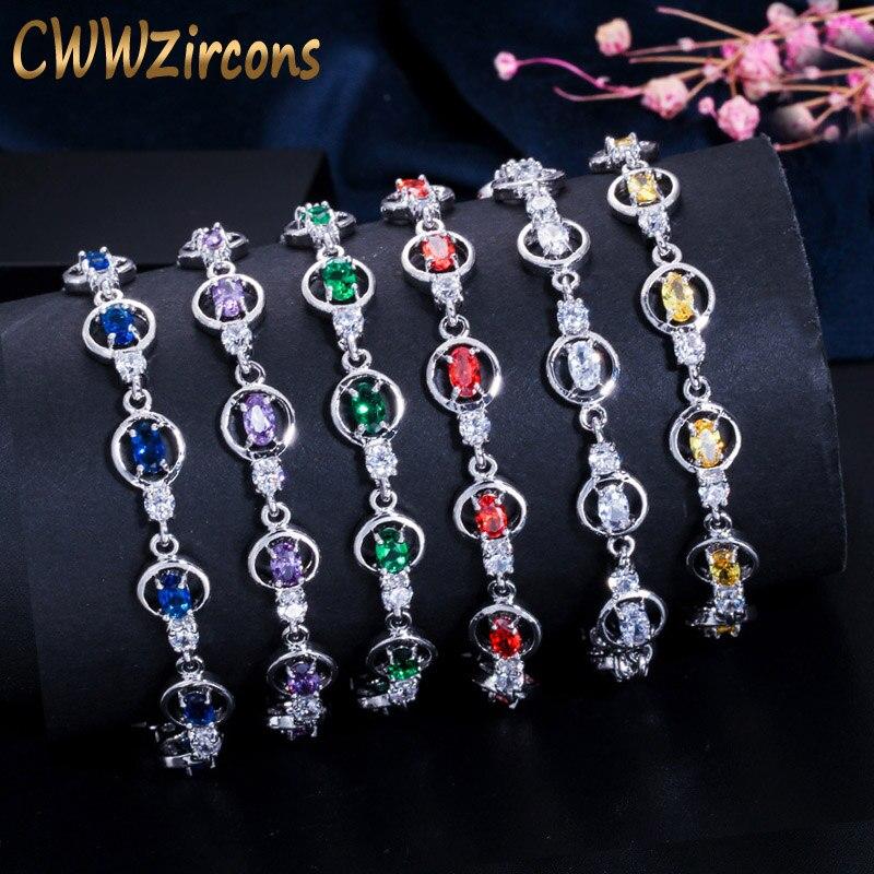 CWWZircons brillante, circonita cúbica púrpura roja, cristal redondo, Pulseras de tenis para mujeres, accesorios de joyería de moda, regalo CB165