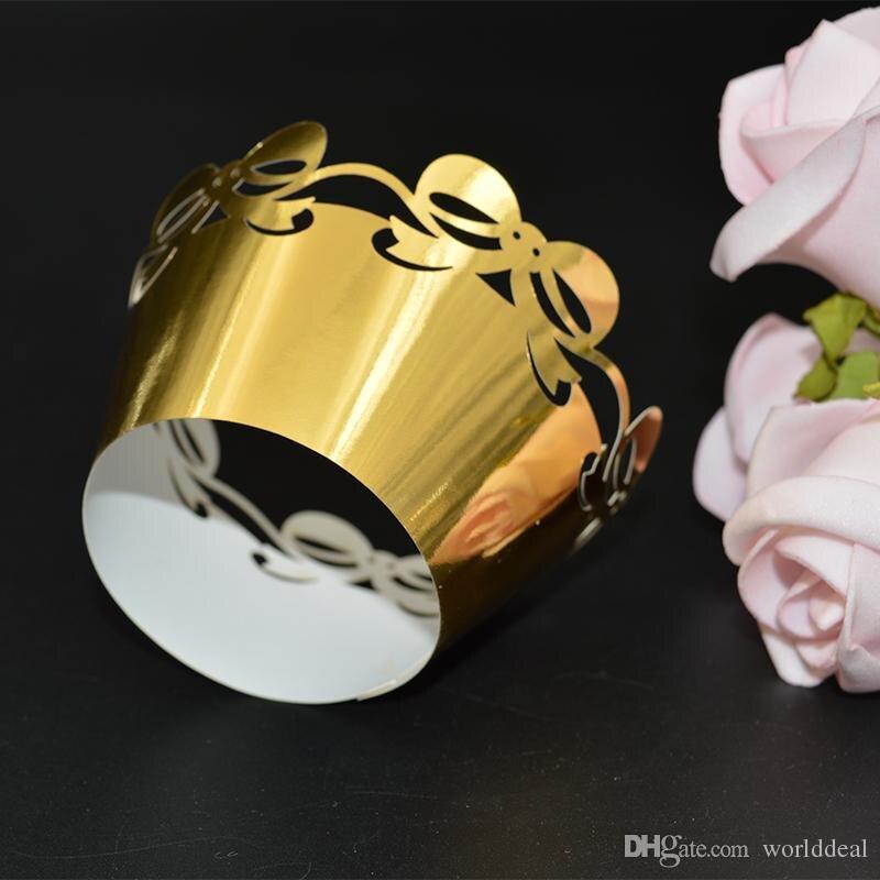 METABLE 120 unids/lote papel reflectante embalaje pastel de boda envoltura corte láser Bowknot forma borde circundante wc570