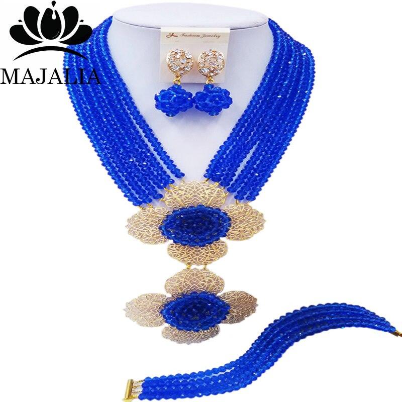 Conjunto de joyas africanas de boda nigeriana clásica de Majalia, collar de cristal azul, conjunto de joyas de novia envío gratis 6CL004