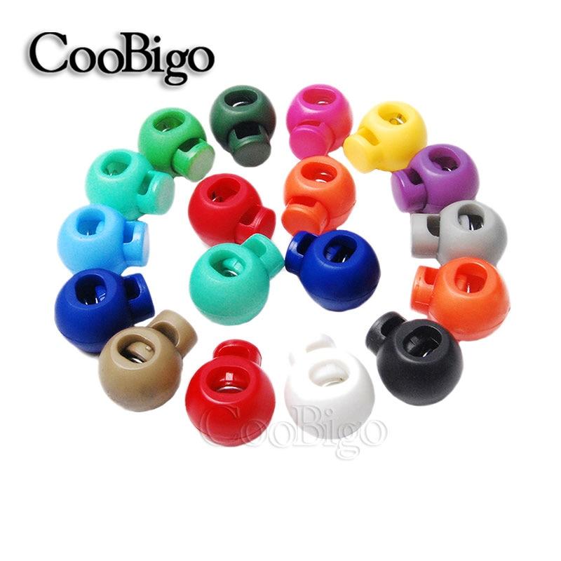 100 Uds. Cordón redondo de bola de colores Bloqueo de resorte tope de palanca Clip Paracord ropa deportiva cordón cuerda DIY accesorios para manualidades