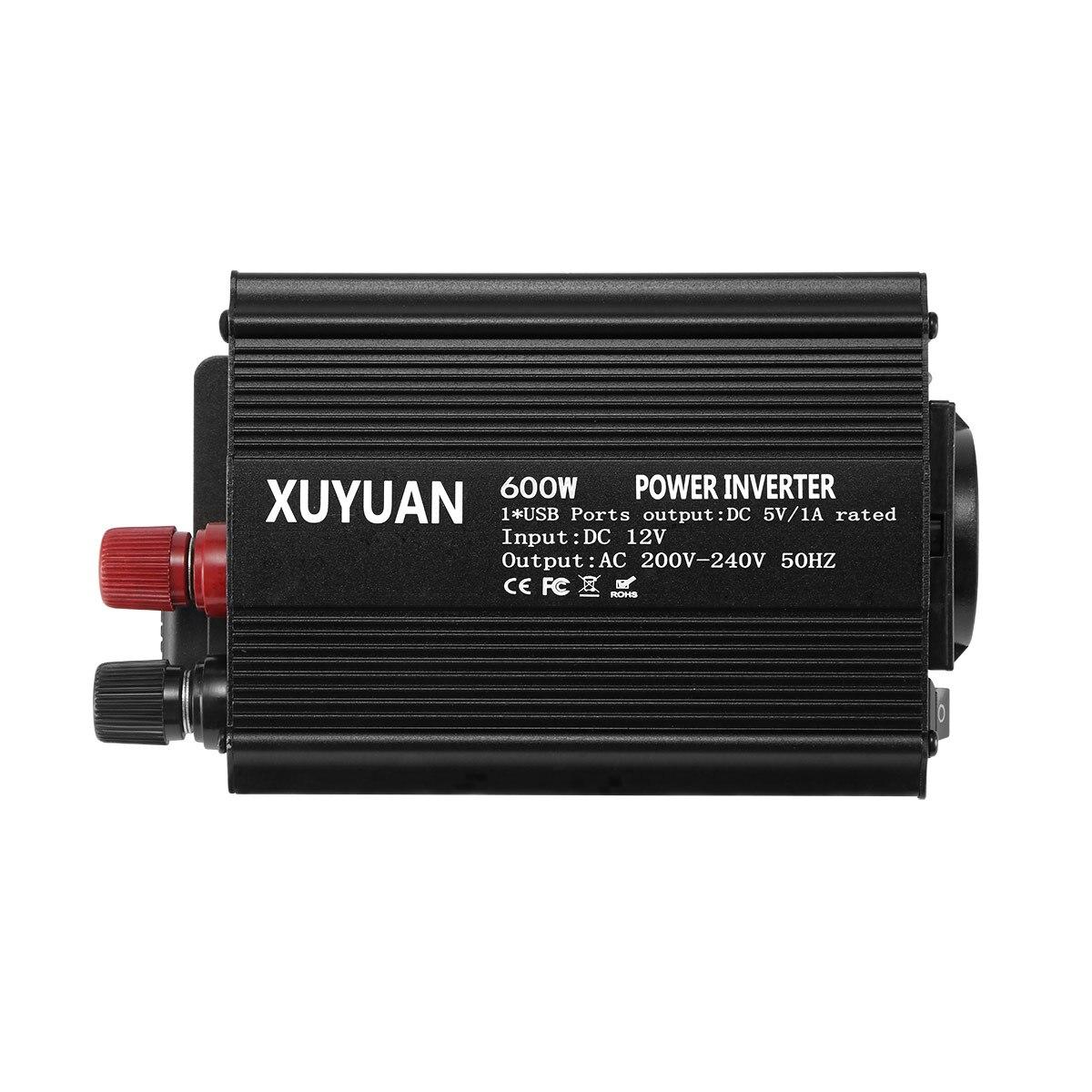 Convertidor de potencia del coche inversor 600W DC12V a AC220V Auto inversor cargador 1 interfaz de salida USB enchufe de la UE nueva llegada