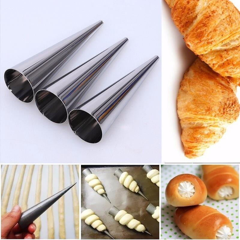 Принадлежности для выпечки, 5 шт., DIY конусы для выпечки, нержавеющая сталь, для выпечки спиральных Круассанов, трубки, рожковое печенье рулет форма для пирога, посуда для выпекания