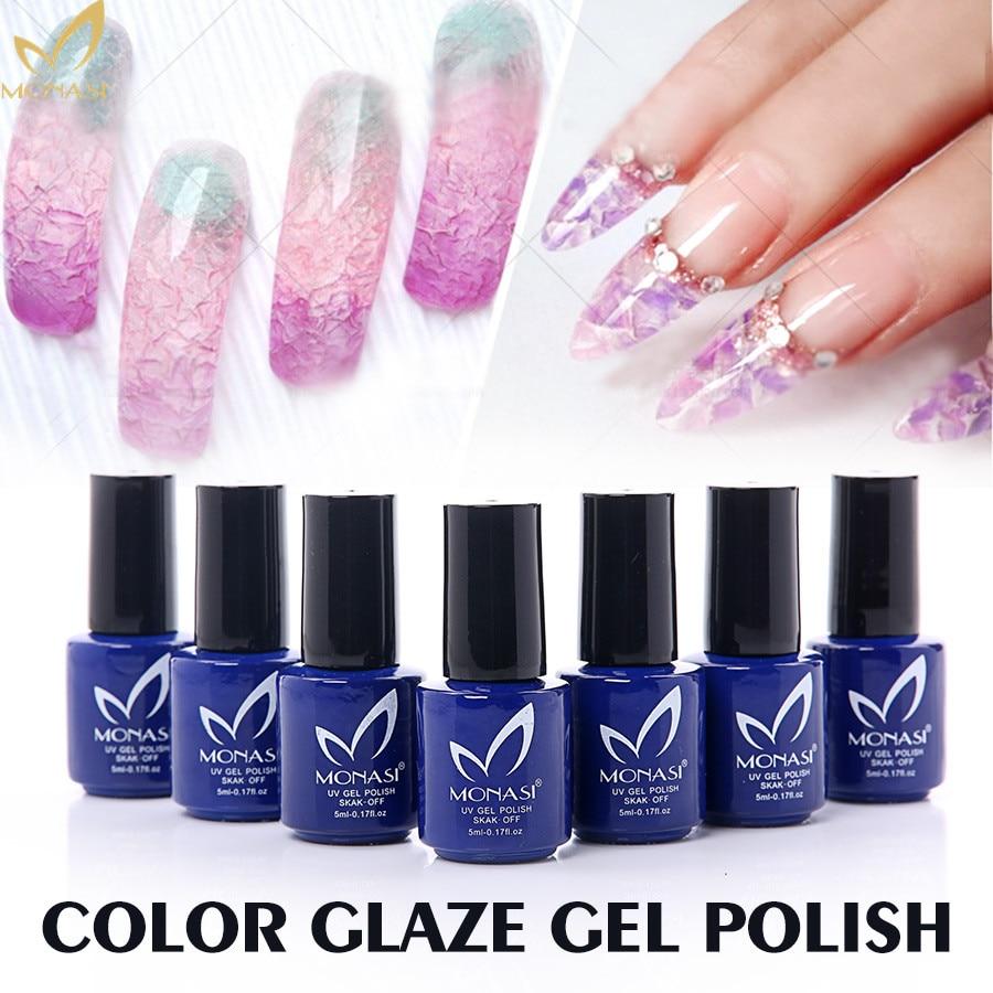 MONASI 16 Color Glaze Soak Off UV LED Gel Polish For Nail Art Fashion Design Semi Permanent 5ML Long Lasting Lacquer