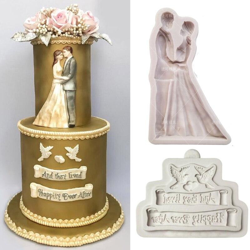 Mariée et marié Silicone moule mariage bénédiction Fondant moule gâteau décoration outil chocolat, Gumpastes moule, Sugarcraft