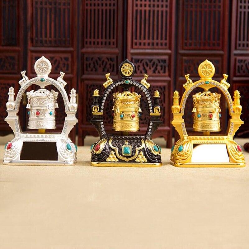 New solar energy lucky security safe turn round turn cylinder car interior decoration Buddhist supplies
