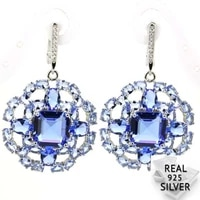 real 13 5g 925 solid sterling silver deluxe blue violet tanzanite cz shecrown present earrings 48x30mm