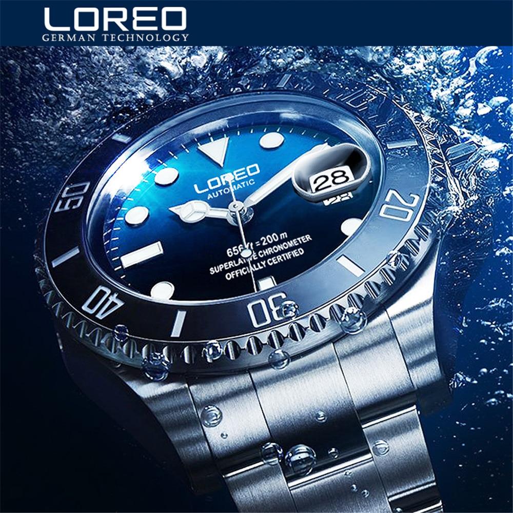 LOREO-ساعة ميكانيكية للرجال ، سوار كلاسيكي ، مينا زرقاء ، أوتوماتيكية ، فاخرة ، مقاومة للماء ، 200 متر ، مجموعة جديدة