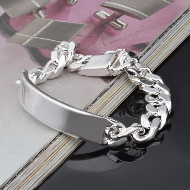 Pulseras de cadena de 10MM para hombre, venta al por mayor, bañado en plata, brazaletes, joyería de plata a la moda, regalos de joyería, pulseras de plata