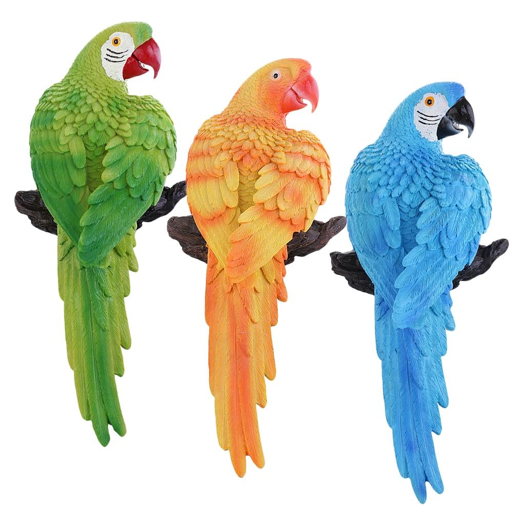 Papagaio realista escultura figura para casa jardim ao ar livre decoração interior resina
