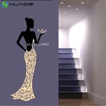 Autocollants muraux pour robe de dame   Étiquette murale en vinyle amovible, pour décoration de la maison, salon, chambre à coucher, paréo A678