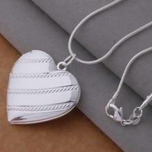 An731 Hot 925 Sterling Silver Necklace 925 Silver Fashion Jewelry Pendant Bevel Heart /hdvapvca Bihajzoa