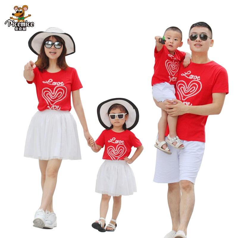 Conjuntos a juego para la familia, falda de amor para madre e hija, camiseta para padre e hijo, pantalones cortos, conjunto de ropa familiar, ropa para padres e hijos