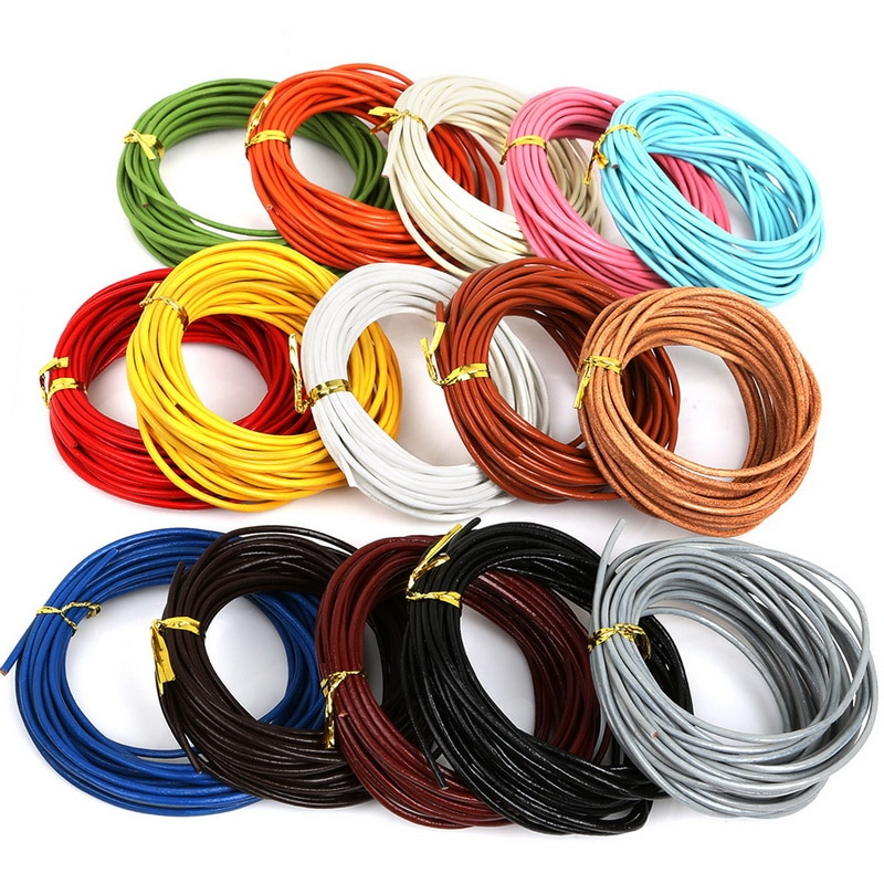 Quente-5 m diâmetro 2mm 100% genuíno cabo de couro redondo jóias cordões diy acessórios para pulseira de jóias descobertas material suprimentos