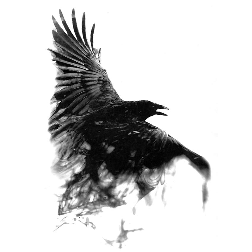 Noir corbeau temporaire imperméable tatouages hommes Harajuku henné tatouage beauté Animal corps tatouage corbeau Tatoo manchon