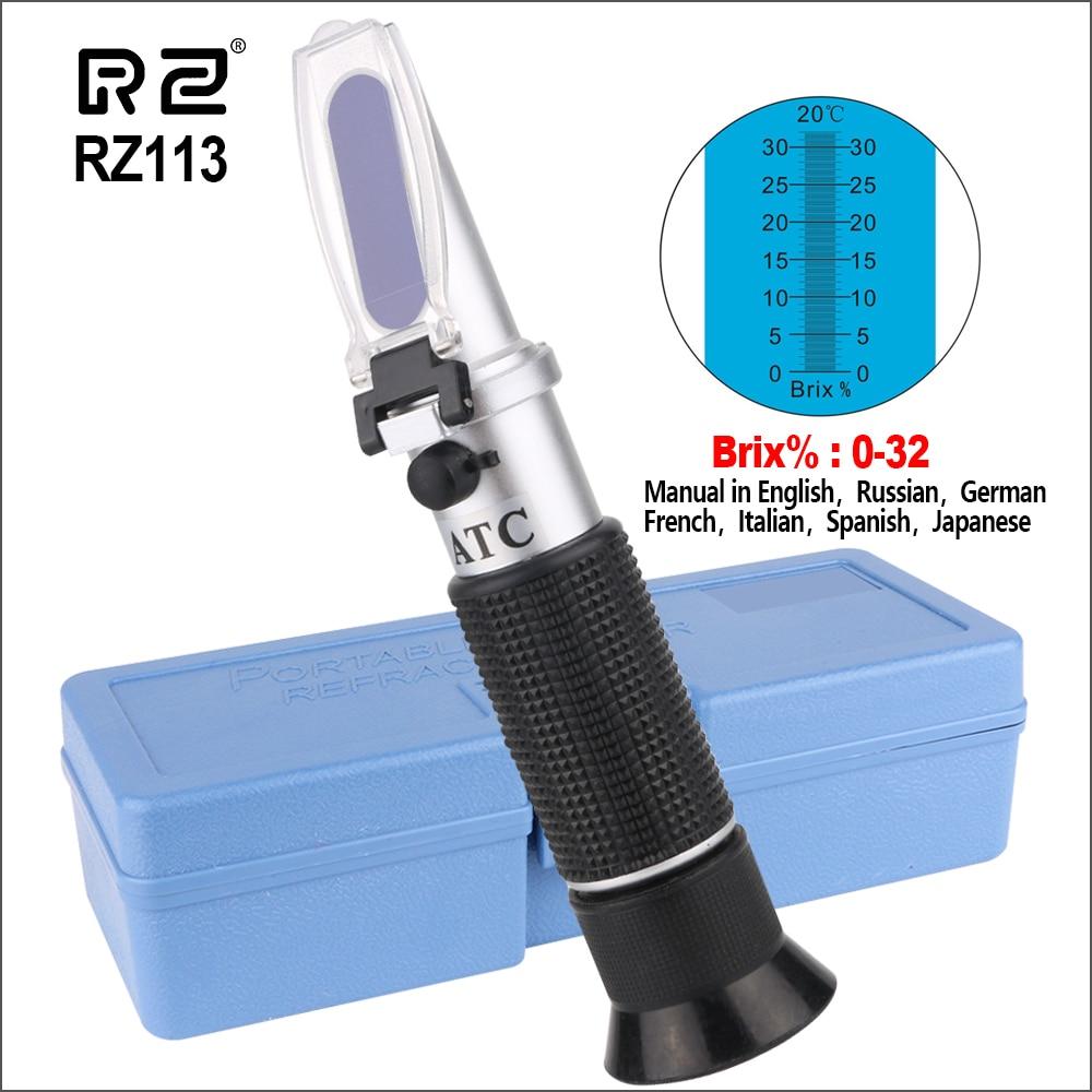 RZ Sugar Meter Refractometer Digital Handheld Sugar Beer Brix Test Optical 0-32% ATC Fruit Sugar Meter Saccharimeter RHB-32ATC
