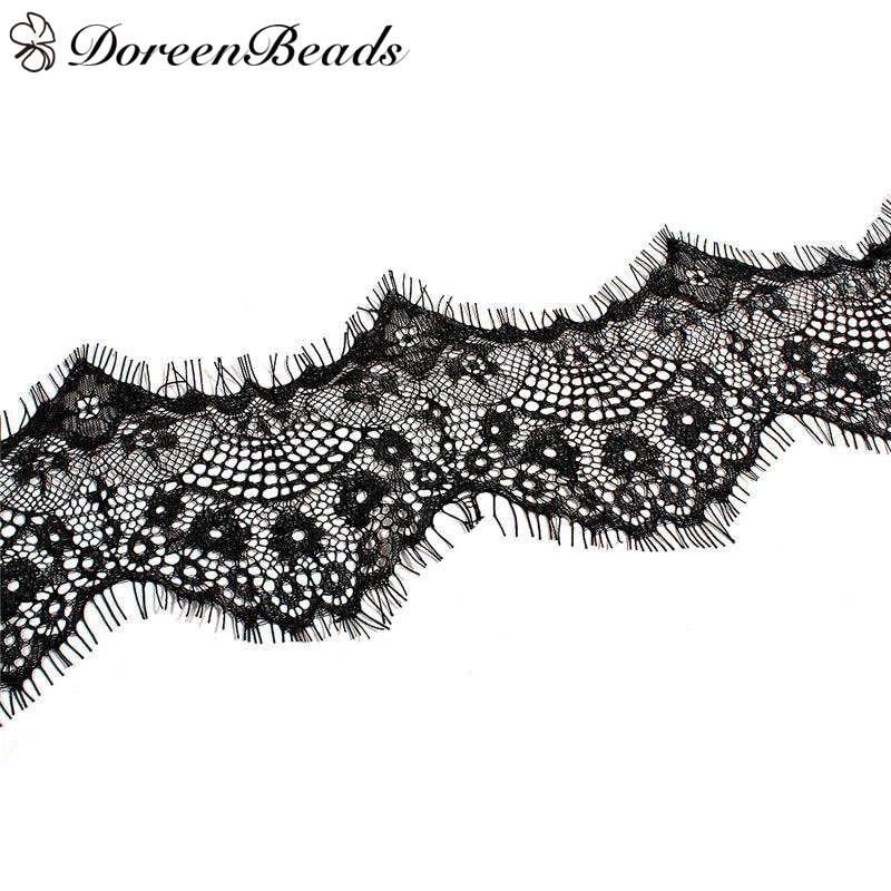 "DoreenBeads Polyamide Nylon Lace Trim Black White Multipurpose Garment DIY Tools 300cm(118 1/8"") x 10cm(3 7/8""), 1 Piece"