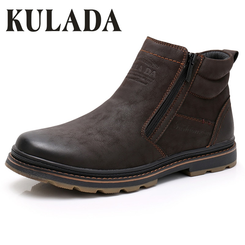 KULADA Winter Boots Men Snow Ankle Boots High Quality Handmade Outdoor Working Boots Vintage Style Men Warm Winter Shoes winter men boots 100