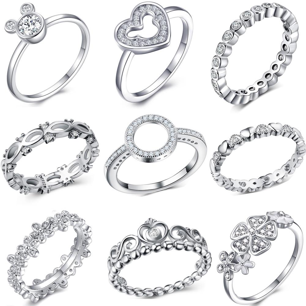 De cristal de moda de plata anillo de Color para las mujeres flor coronas y corazón de amor anillos de dedo de parte de la marca de joyería de anillo de Dropshipping. Exclusivo.