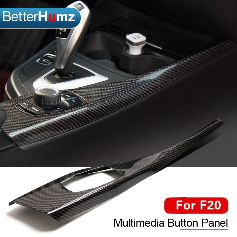 Para BMW F20 F21 cubierta de Panel de botones Multimedia de fibra de carbono embellecedor Interior pegatina de estilo de coche 1 serie 116i 118i Accesorios