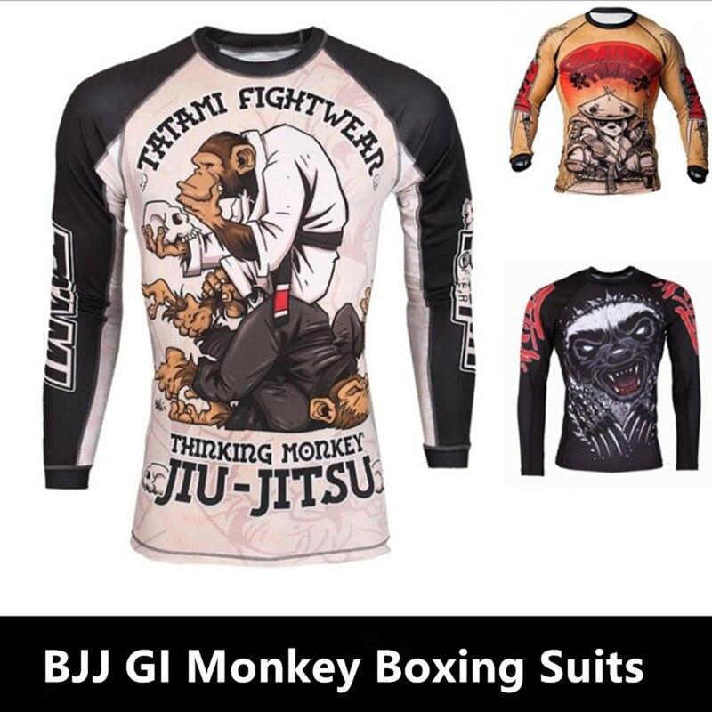 Hombres KickBoxing Jiu Jitsu 3D mono estampado camisetas Mma Rashguard boxeo conjunto de camisetas de compresión pantalones Muay Thai Fitness medias